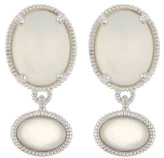 Judith Ripka Sterling Silver Mardi Gras Double Gemstone Dangle Earrings