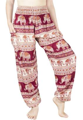 Lofbaz Women's Rayon Smocked Waist Flowy Hippie Boho Harem Pants - S