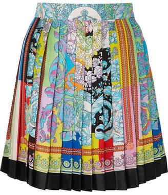 Versace Pleated Printed Silk-twill Mini Skirt - Yellow