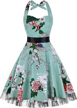 oten Women Vintage Polka Dot Floral 1950s Halter Rockabilly Cocktail Party Dress