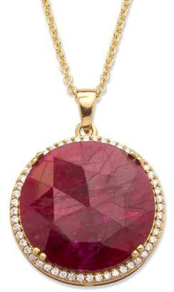 """PalmBeach Jewelry Palm Beach Jewelry 23.92 TCW Genuine Hand-Cut Round Ruby and Pave CZ Necklace in 14k Gold over Sterling Silver 18"""""""