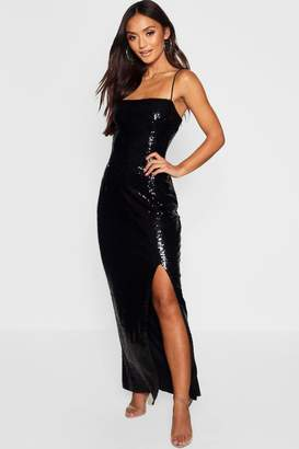 boohoo Petite Sequin Square Neck Maxi Dress