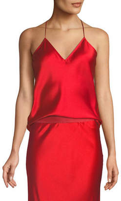 Theory Draped Back Silk Satin Camisole Top