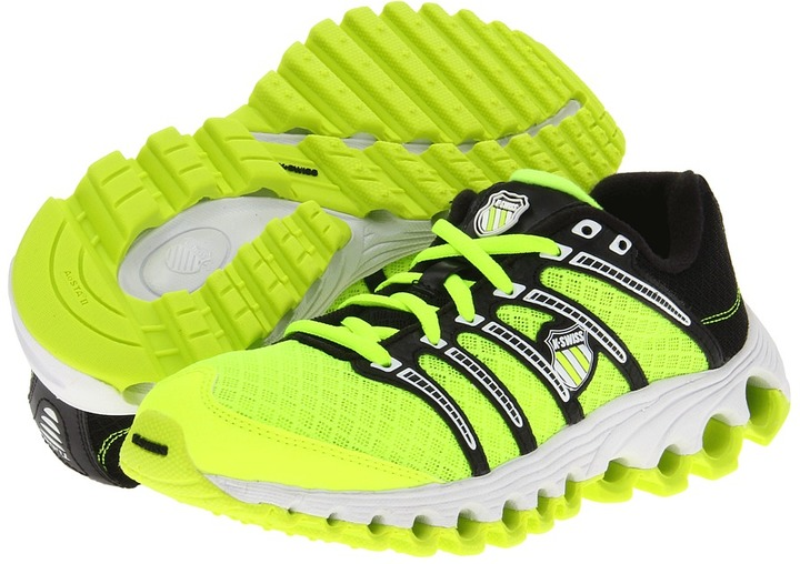 K-Swiss Tubes Run 100 Mesh (Big Kid) (Neon Citron/Black) - Footwear