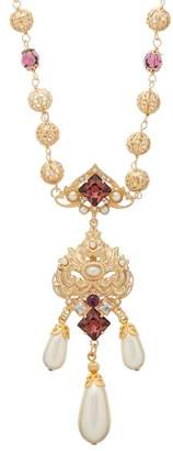 Dolce & Gabbana Crystal And Faux Pearl Embellished Drop Necklace - Womens - Purple