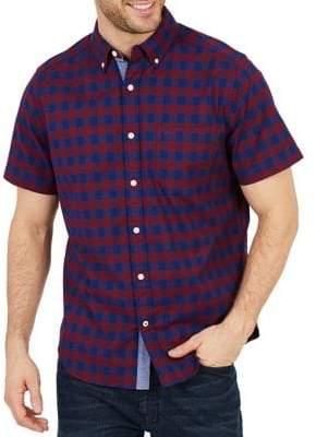 Nautica Classic-Fit Stretch Oxford Plaid Short-Sleeve Sport Shirt