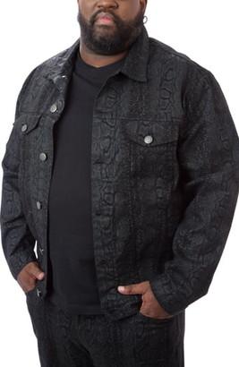 MVP Collections Python Print Denim Trucker Jacket