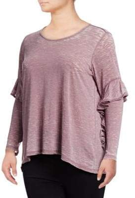 Style&Co. Style & Co. Plus Ruffle Long-Sleeve Top