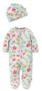 Offspring Baby Girl's Cotton Two-Piece Floral Footie and Folded Hat Tropical Set