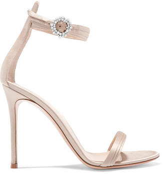 Gianvito Rossi Portofino 100 Crystal-embellished Satin Sandals - Platinum