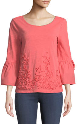 Neiman Marcus Soutache Embroidered Bell-Sleeve Blouse