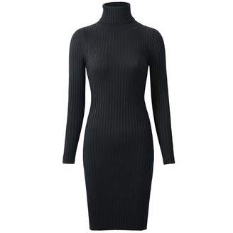 b94ff490841ad Collocation-Online Knit Dress Womens Winter Knitted Sheath Turtle Neck  Dresses Long Sleeve Basic Sexy