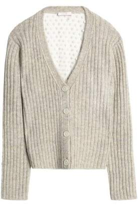 See by Chloe Woman Mesh-paneled Knitted Cardigan Light Gray Size XL