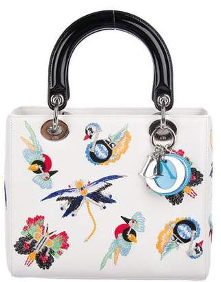 Christian Dior 2016 Medium Embroidered Animals Lady Bag