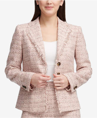 DKNY Tweed Three-Button Blazer, Created for Macy's