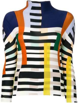 Issey Miyake intarsia-knit turtleneck jumper