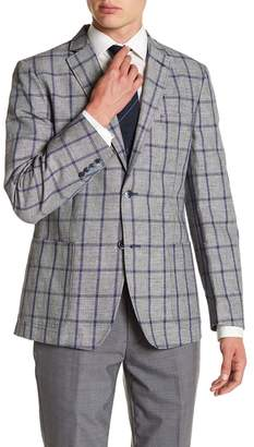 Ben Sherman Notch Collar Front Button Windowpane Print Sport Coat