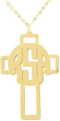 24K Plated Sterling Monogram Cross Pendant w/ Chain