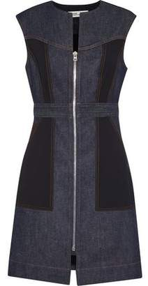 Diane von Furstenberg Cady-Paneled Denim Mini Dress