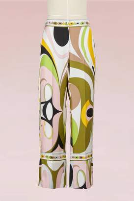 Emilio Pucci Maschere Print Silk Pajama Pants