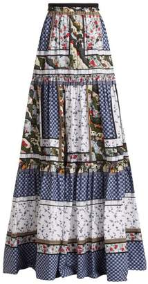 Erdem Sigrid Floral Print Cotton Skirt - Womens - White Print