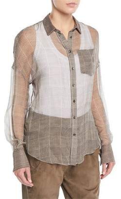 Brunello Cucinelli Button-Front Plaid Silk Chiffon Blouse