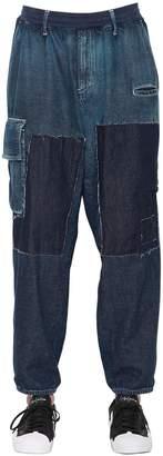 Yohji Yamamoto 16cm Patchwork Cotton Denim Jeans
