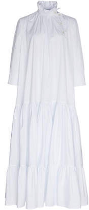 Calvin Klein Double Stripe Cotton Flounce Dress With Ruched Collar
