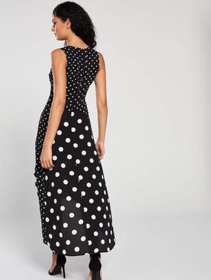 7e8c67e39a8 AX Paris Polka Dot Frill Front Midi Dress - Black White