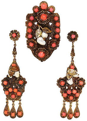 One Kings Lane Vintage Czech Earrings & Dress Clip Set - C. 1920