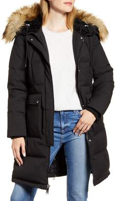 Sam Edelman Down & Feather Puffer Coat with Faux Fur Trim