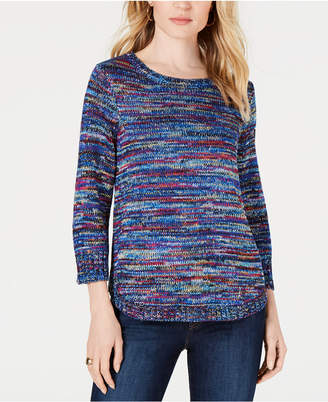 NY Collection Petite Space-Dyed Multicolor Sweater