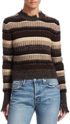 Helmut Lang Ribbed Ombre Stripe Cropped Sweater