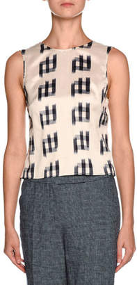 Giorgio Armani Shantung Sleeveless Tie-Back Blouse, White/Black