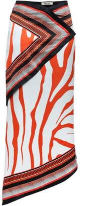 Roberto Cavalli Asymmetric Printed Silk-satin Midi Skirt