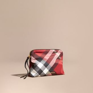 Burberry Large Zip-top Check Pouch $195 thestylecure.com