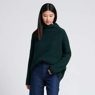 Naadam Wool Cashmere Oversized Ribbed Turtleneck Forest Green
