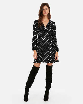 Express Polka Dot Surplice Fit And Flare Dress