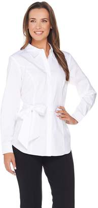 Belle By Kim Gravel Belle by Kim Gravel Stretch Woven Shirt with Wrap Belt
