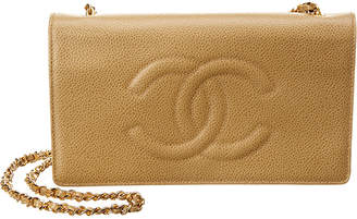 Chanel Beige Caviar Leather Timeless Cc Wallet On Chain