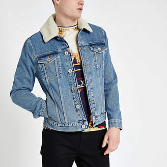 River Island Blue fleece collar denim jacket