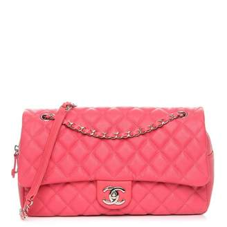 Chanel Easy Flap Quilted Diamond Jumbo Coral Pink