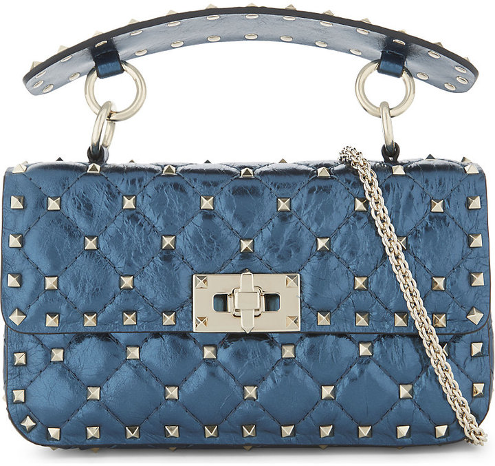 Valentino Rockstud metallic leather shoulder bag