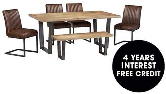 Camilla And Marc Julian Bowen Brooklyn 180 Cm Solid Oak And Metal Table + 4 Chairs + Bench