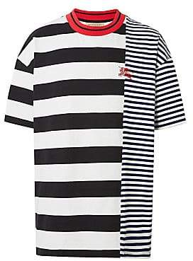 Burberry Women's Cut& Sew Stripe Cotton Tee