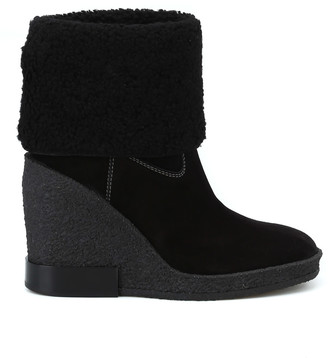 Tod's Tods Black Suede Crepe Rubber Wedge Ankle Boots
