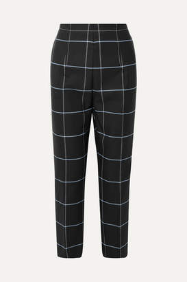 Marni Cropped Checked Twill Straight-leg Pants - Black