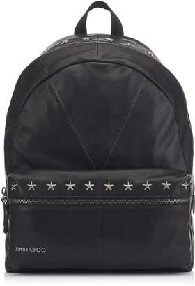 Jimmy Choo REED Black Biker Leather Backpack with Gunmetal Stars