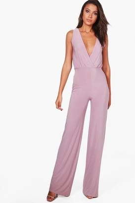 boohoo Tall Wrap Front Wide Leg Slinky Jumpsuit