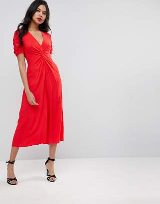 Asos Design Tea Jumpsuit With Knot Front